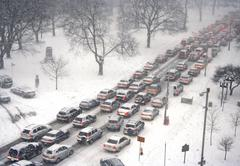 Traffic jam  in a blizzard Stock Photos