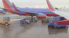 Airport - taxiway, runway, airport terminals and airplanes Chicago, Illinois Stock Footage