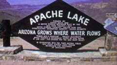 1961: Apache lake reservoir water receding cliff canyon vacation. Stock Footage