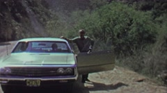 1961: Impatient dad family pulls over while family waits in car. - stock footage