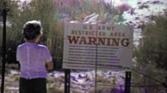 1957: US Army restricted area warning puzzle rebellious woman. Stock Footage