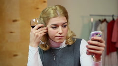 Sad melancholic woman drinking wine and sending a text message to her beloved Stock Footage