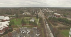Aerial Trainspotting in Apex, NC Stock Footage