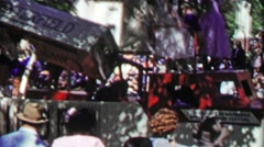 1952: Chesterfield company cigarette parade float rotating display. Stock Footage