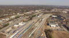 Freight Yard in Raleigh, NC Aerial Arkistovideo