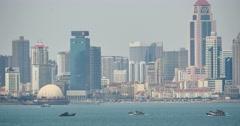 4k tanker ship Through urban building background,QingDao China. Stock Footage