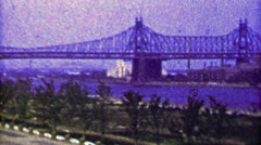 1965: Old Verrazano Narrows Bridge steel bridge river crossing. Stock Footage