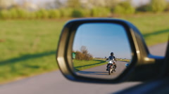 Motorcycle rearview mirror Stock Footage