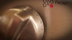 Front view of modern stainless steel gas stove Stock Footage