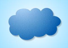 Binary code system and blue cloud Stock Illustration