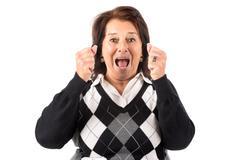Desperate senior woman Stock Photos
