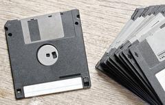 Used Floppy Diskettes - stock photo