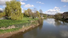 The Wye Valley River Wye Monmouth Wales UK pan Stock Footage