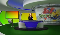 PSD Template of Tricaster Psd TV Studio Set for Sports