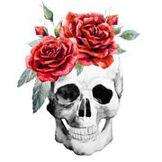 Watercolor hand drawn skull with roses - stock illustration