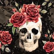 Watercolor skull and roses pattern - stock illustration