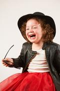 Little Girl Fashion Model With Black Hat Image 41 - stock photo