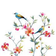 Stock Illustration of Floral composition with birds