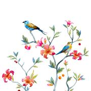 Floral composition with birds - stock illustration