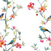 Watercolor floral pattern - stock illustration