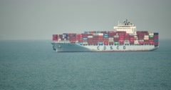 4k Cargo container ship in ocean. Stock Footage