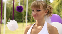 Stock Video Footage of Emotional bride on wedding ceremony