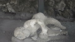 Child victim of the eruption in Pompeii Stock Footage