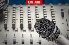 Microphone in sound studio - stock photo