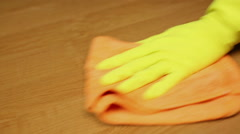 Professional cleaner wiping the table, apartment cleaning service.  Cleanliness Stock Footage