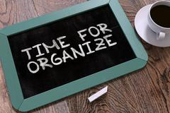 Time for Organize - Chalkboard with Hand Drawn Text Stock Illustration