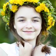 Beautiful little girl, outdoor, color bouquet flowers, bright sunny summer day Stock Photos