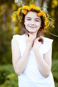 Beautiful little girl, outdoor, color bouquet flowers, bright sunny summer day - stock photo