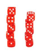 Red playing dices isolated - stock photo