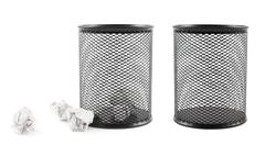 Office paper trash bin isolated - stock photo