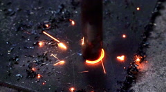 Close-up View of Spinning Metal Spiral Drill Bit with Sparkles. Stock Footage