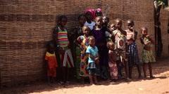 Africa native village kids posing Stock Footage