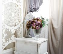 shabby chic white room interior, wedding decor - stock photo