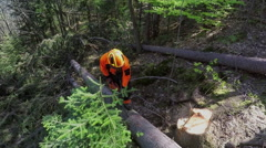 Showing a chainsaw to the camera Stock Footage