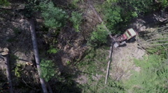 Moving the third tree trunk closer to the tractor Stock Footage