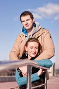 Young couple  spring city, relax have fun, love each other, happy family, idea Stock Photos