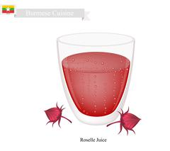 Roselle Juice, A Famous Beverage in Myanmar Stock Illustration
