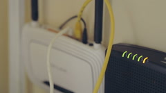 Internet equipment blinking modem and router lights . Stock Footage