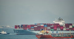 4k Cargo Container Ships Through The QingDao Harbo,china. Stock Footage