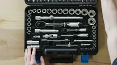 Man open the toolbox Stock Footage
