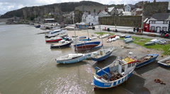 Boats on the quayside in Conwy - Wales - stock footage