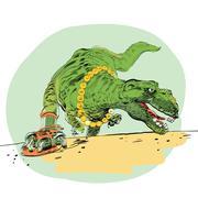 The evolution of men Tyrannosaurus dinosaur - stock illustration