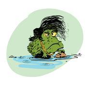The evolution of men amphibian - stock illustration