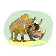 Wild Rhino men evolution Stock Illustration