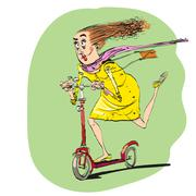 The woman rides off on a scooter - stock illustration