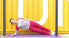 Exercises Fitness to Strengthen the Abdominal. - stock footage